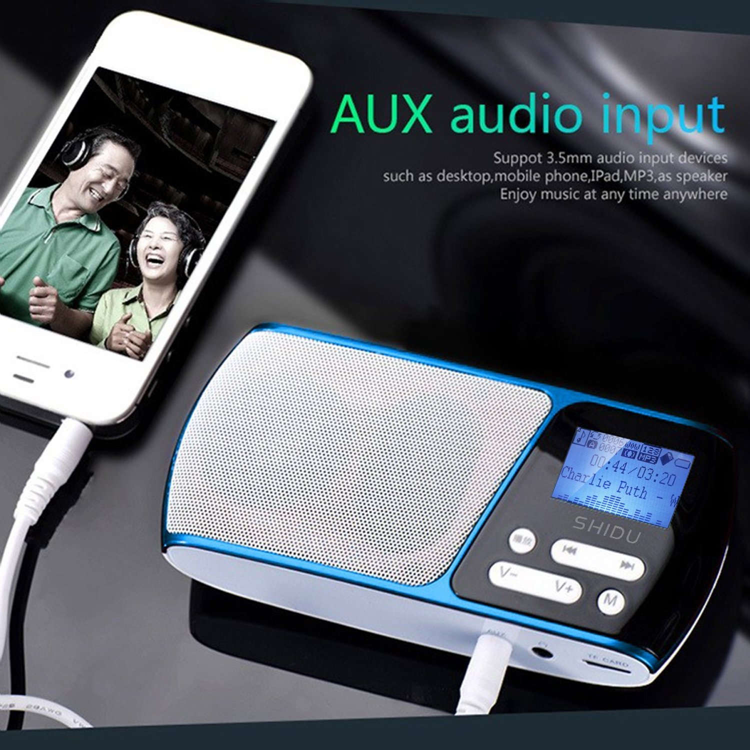 SHIDU SD-S168 FM Radio Portable Support TF Card/USB Disk / MP3 / FM Radio with LED Lyrics Display