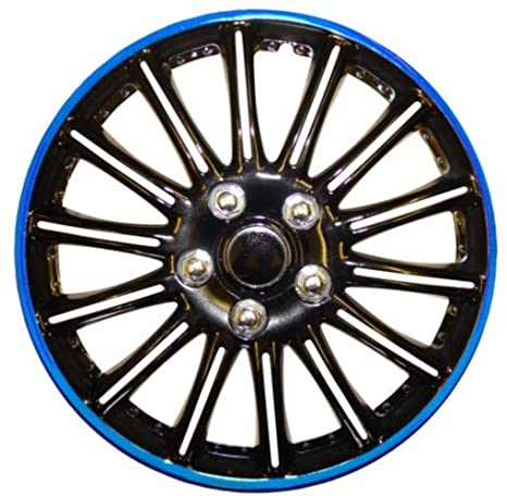 XtremeAuto® - Tapacubos de 14 pulgadas, negro y azul, franjas metálicas, rueda