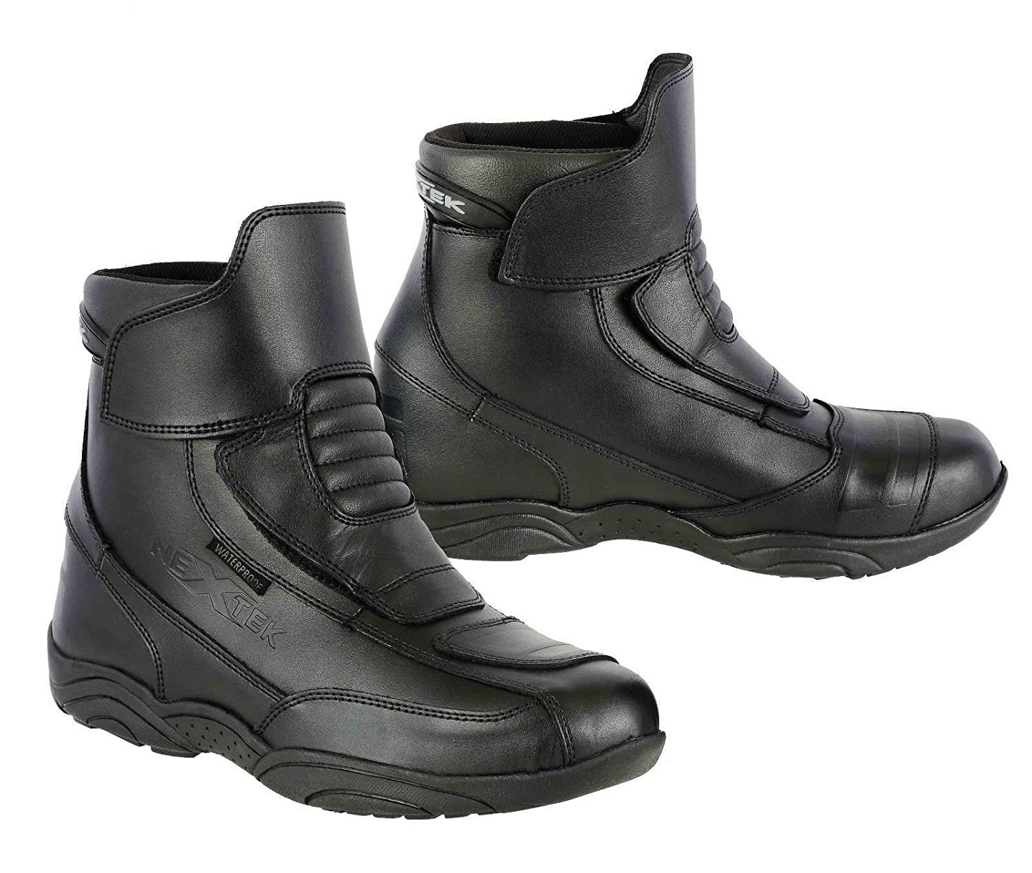 UK 10 EU 44 Full Black PROFIRST Zip Free 100/% Genuine Leather Motorbike Motorcycle Boots Armoured Shoes Short Ankle Racing Sports Urban Touring Cruise