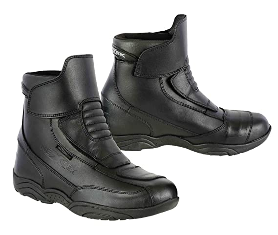 Full Black UK 7//EU 41 Pro First Genuine Leather Motorbike Armoured Boots Motorcycle Short Ankle Protection Boot Shoes Anti Slip Racing Sports