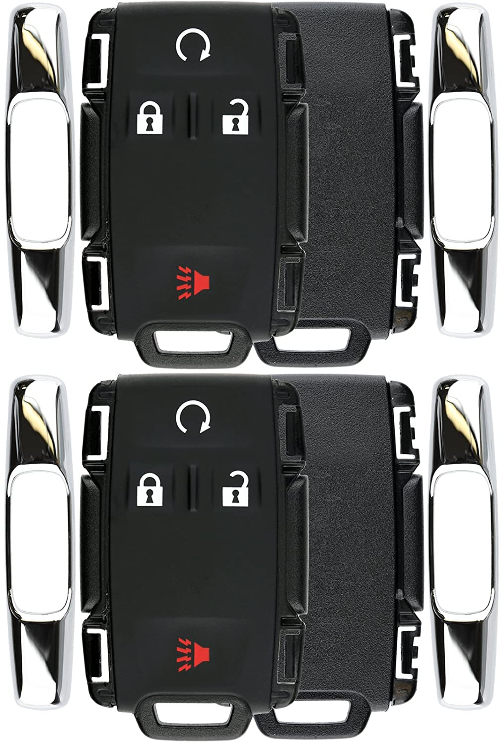 Pack of 2 KeylessOption Keyless Entry Remote Control Car Key Fob Case Shell Button Pad Outer Cover for GMC Chevy M3N-32337100