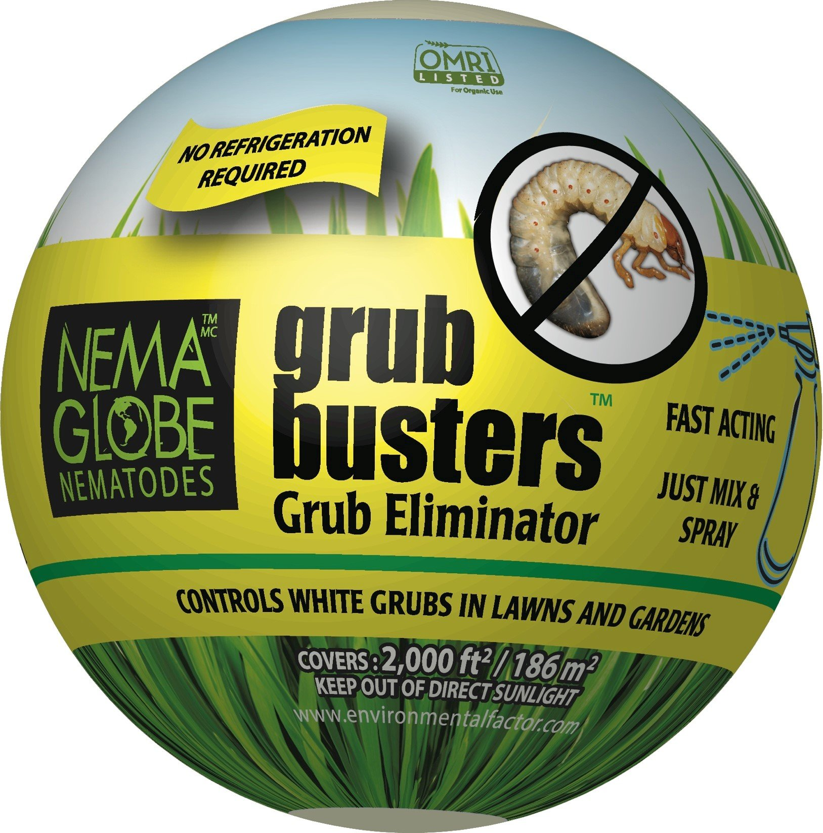 60 Million Beneficial Nematodes (H.bacteriophora) - Nema Globe Grub Buster for Pest Control - New ''No Refrigeration Required'' Formula by Nemaglobe