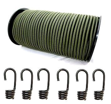 10 Spiralhaken Gummileine Planenseil Seil Plane in Gr/ün 6mm Expanderseil 10m Gummiseil
