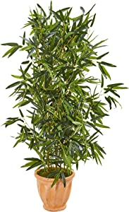 Nearly Natural 4.5-Ft. Bamboo Artificial Terra Cotta Planter (Real Touch) UV Resistant (Indoor/Outdoor) Silk Trees Green
