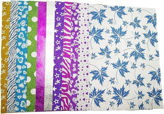 10 Hojas A4 Cartulinas Adhesivas de Colores Brillantes Cartulinas de Colores Papel Pegatina para Manualidades DIY Artcraft Trabajo Álbumes de Recortes Multicolor: Amazon.es: Oficina y papelería