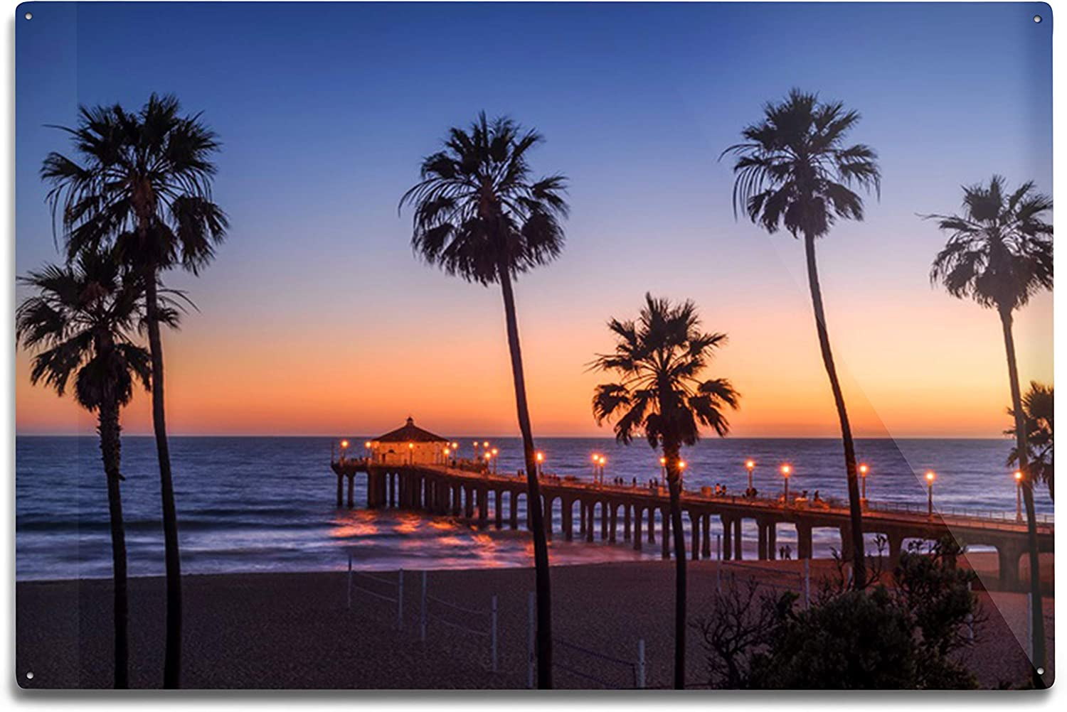 Amazon Com Manhattan Beach Pier At Sunset Los Angeles California Photography A 91249 12x18 Art Print Wall Decor Travel Poster Posters Prints