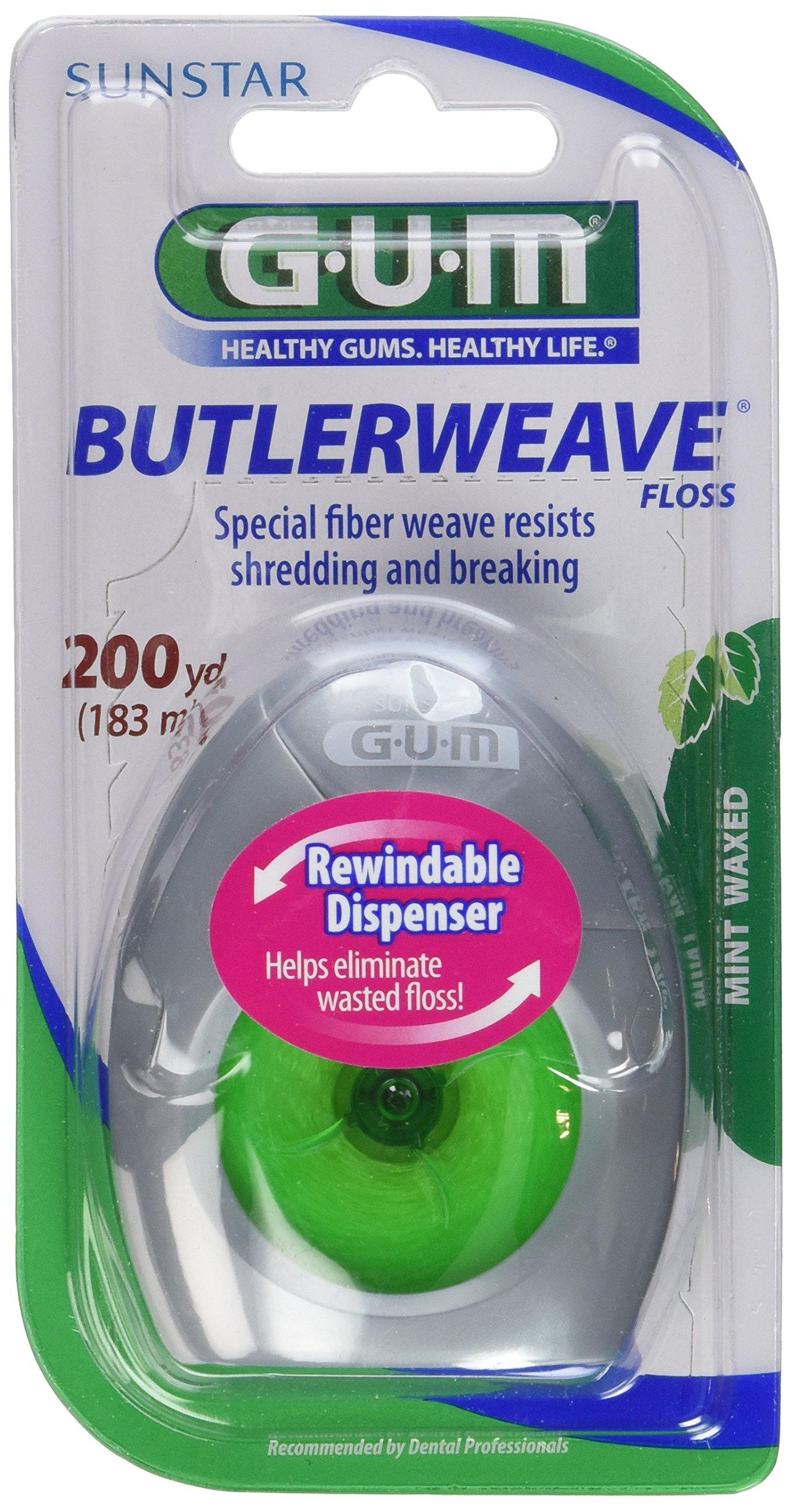 Gum Butlerweave Floss Mint Waxed, 200yds (Pack of 6)