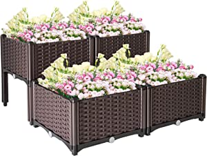SUNVIVI OUTDOOR 4 Plastic Raised Garden Beds Elevated Planters Box Kit Rattan Pattern with Self-Watering Design and Compact Footprint, Perfect for Flowers Vegetables and Herbs, Brown