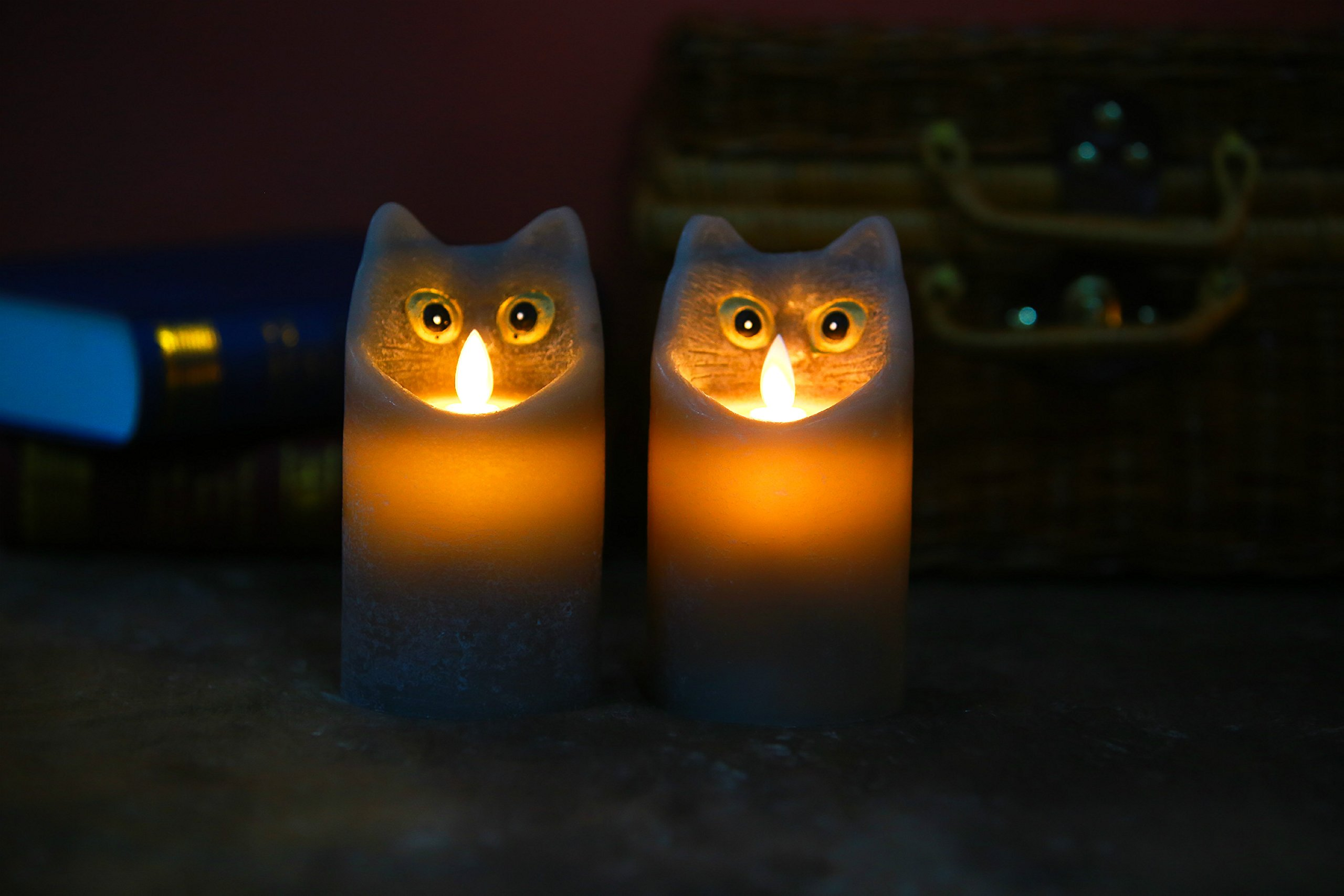 Kitch Aroma Marble Grey Color Cartoon Cat Flameless Candle with Timer For Birthday Gifts,Dia 3'' x H6'',Pack of 2 by Kitch Aroma (Image #8)