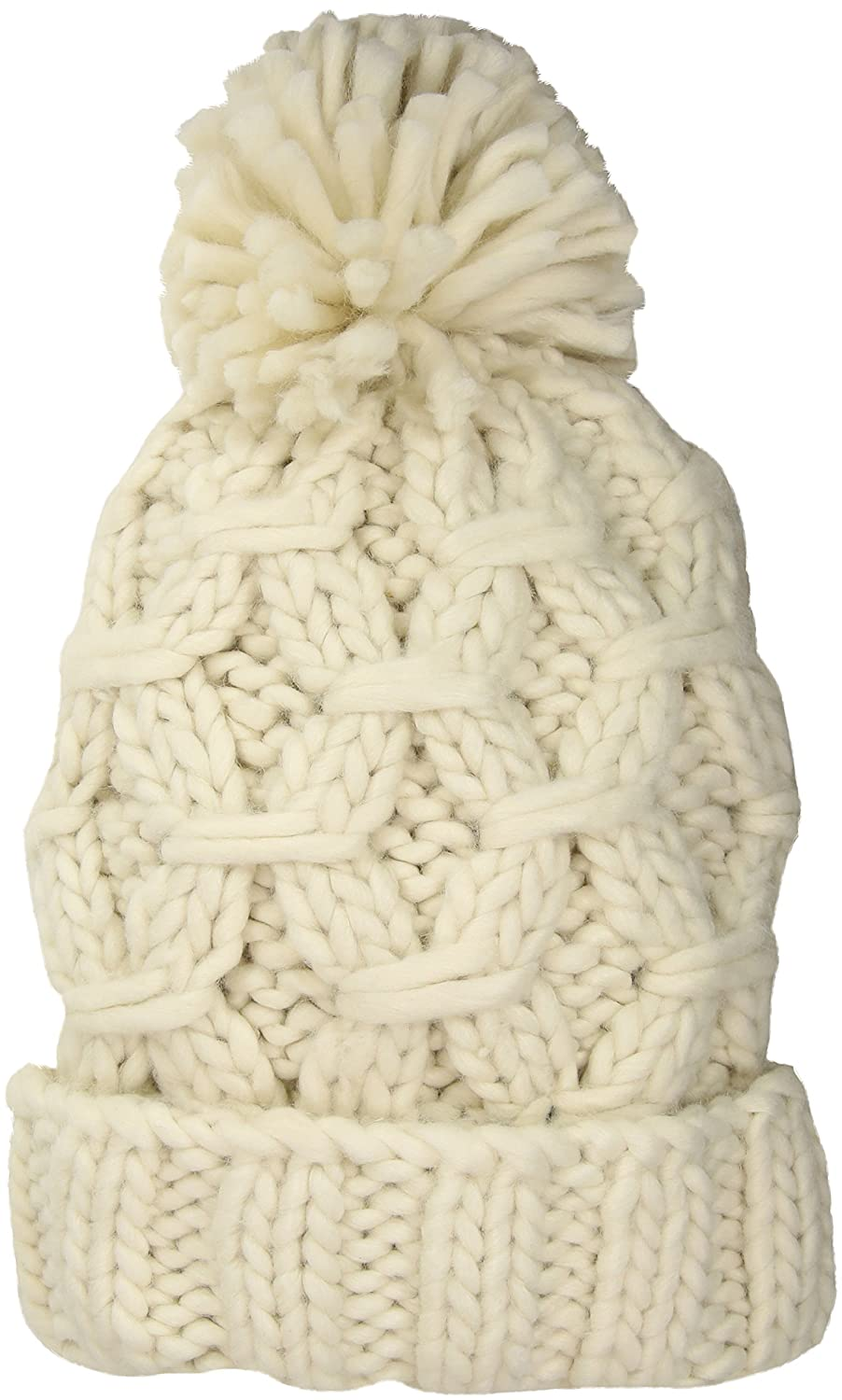752d6a3bd85 San Diego Hat Company Women s Crochet Chunky Yarn Beanie with A Cuff   Pom  Ivory One Size at Amazon Women s Clothing store