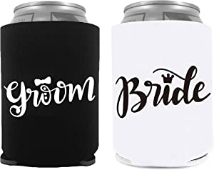 YouFangworkshop Funny Cute Beer Can Sleeve Coolers, Couple Lovers Beer Coolers Set for Bride and Groom Engagement Wedding Party Decoration Gifts, Bridal Shower Gift, 2-Pack