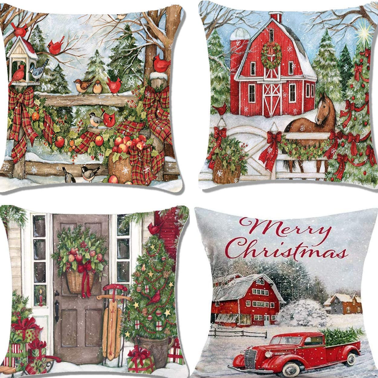 Unibedding Merry Christmas and Christmas Tree Pillows Covers for Christmas Decor Winter Truck Birds Pillow Case Set of 4 Christmas Decoration Cotton Linen Cushion Covers 18 x18, Red