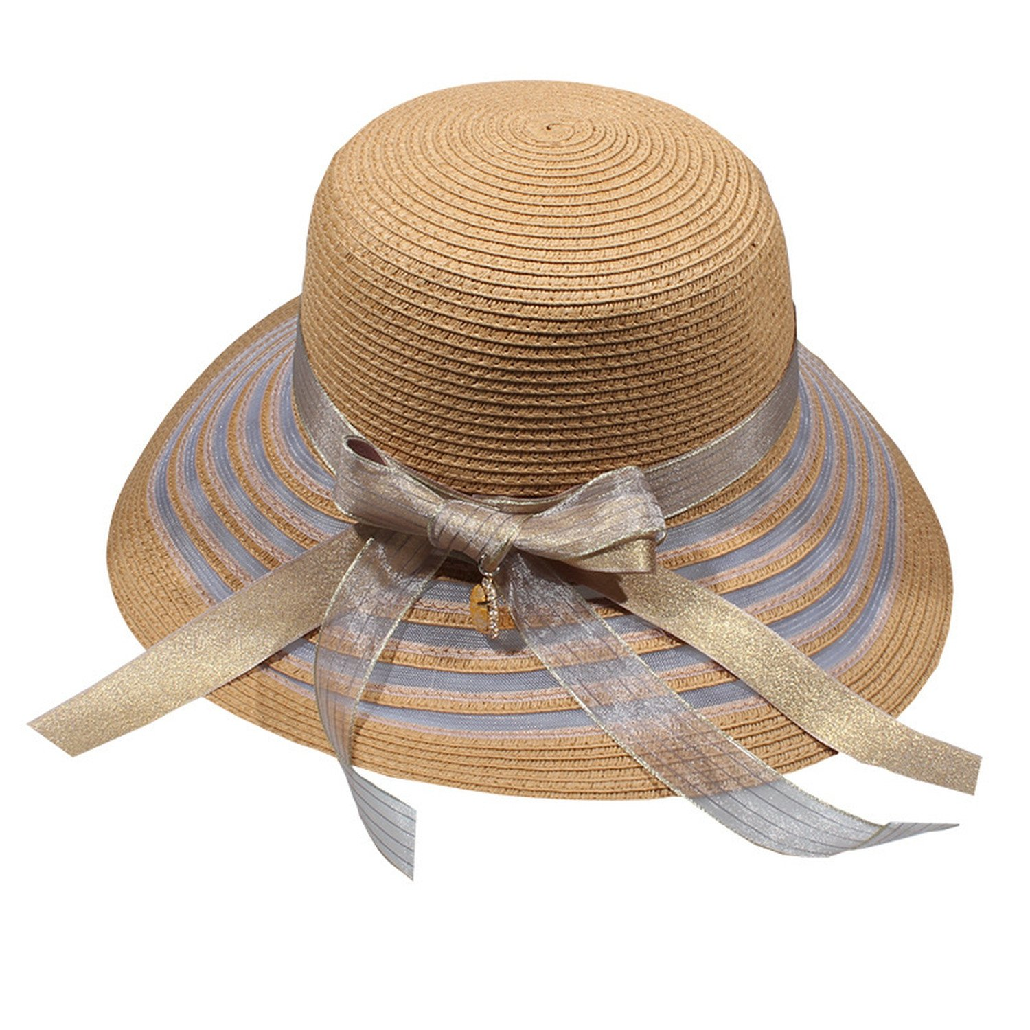 New South Lady Summer Butterfly Festival Seaside Leisure Double-layer Ribbon roots Large Women's straw hat,Khaki,adjustable