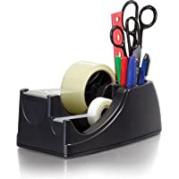 Officemate Heavy Duty Weighted 2-in-1 Tape Dispenser, Recycled,Black (96660)