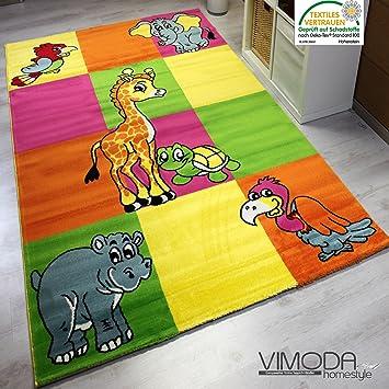 Kinderteppich Modern Zoo Kinder Teppich Giraffe Elefant in Bunte ...