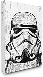 The Stupell Home Décor Collection Black and White Star Wars Stormtrooper Distressed Wood Etching Stretched Canvas Wall Art, 24 x 30, Multi-Color