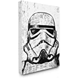 Stupell Industries Black and White Star Wars Stormtrooper Distressed Wood Etching Stretched Canvas Wall Art, 16 x 20