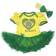 Brazil Heart Yellow Bodysuit Green Tutu Romper Baby Dress Girl Clothing Nb-18m (0-3month)