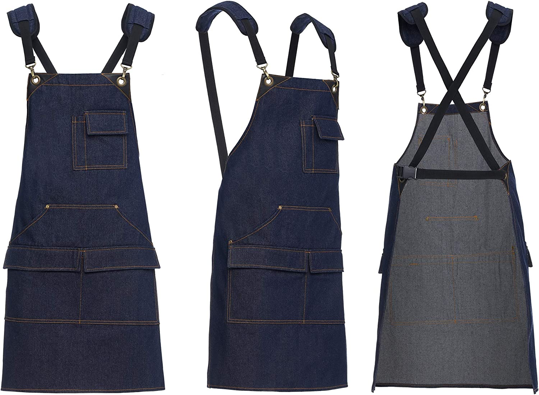 4inhale Apron for Women & Men - Heavy Duty Adjustable Bib Aprons - 4 Pockets - BBQ Garden Chef