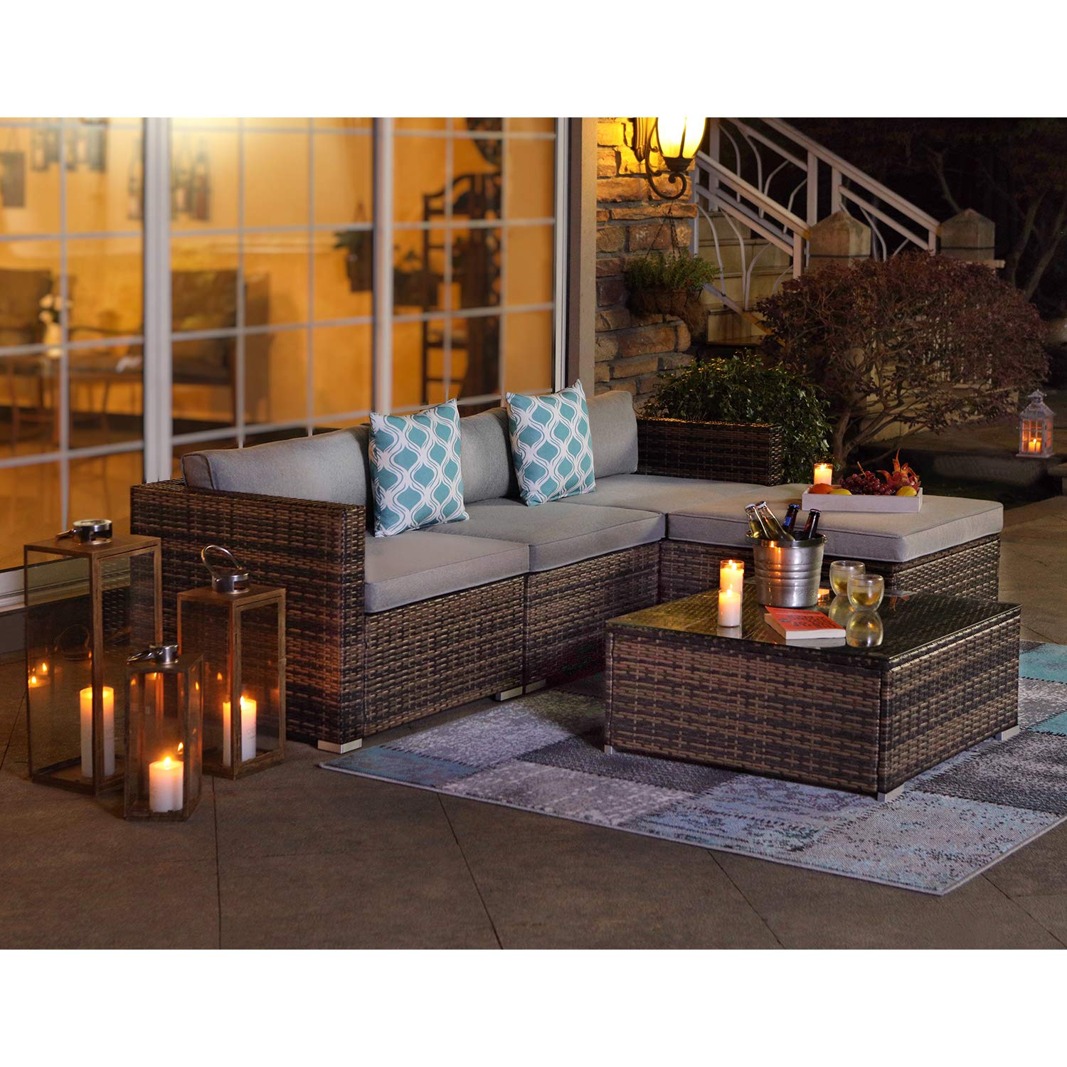 Amazon.com: COSIEST 5-Piece Outdoor Furniture All-Weather ...
