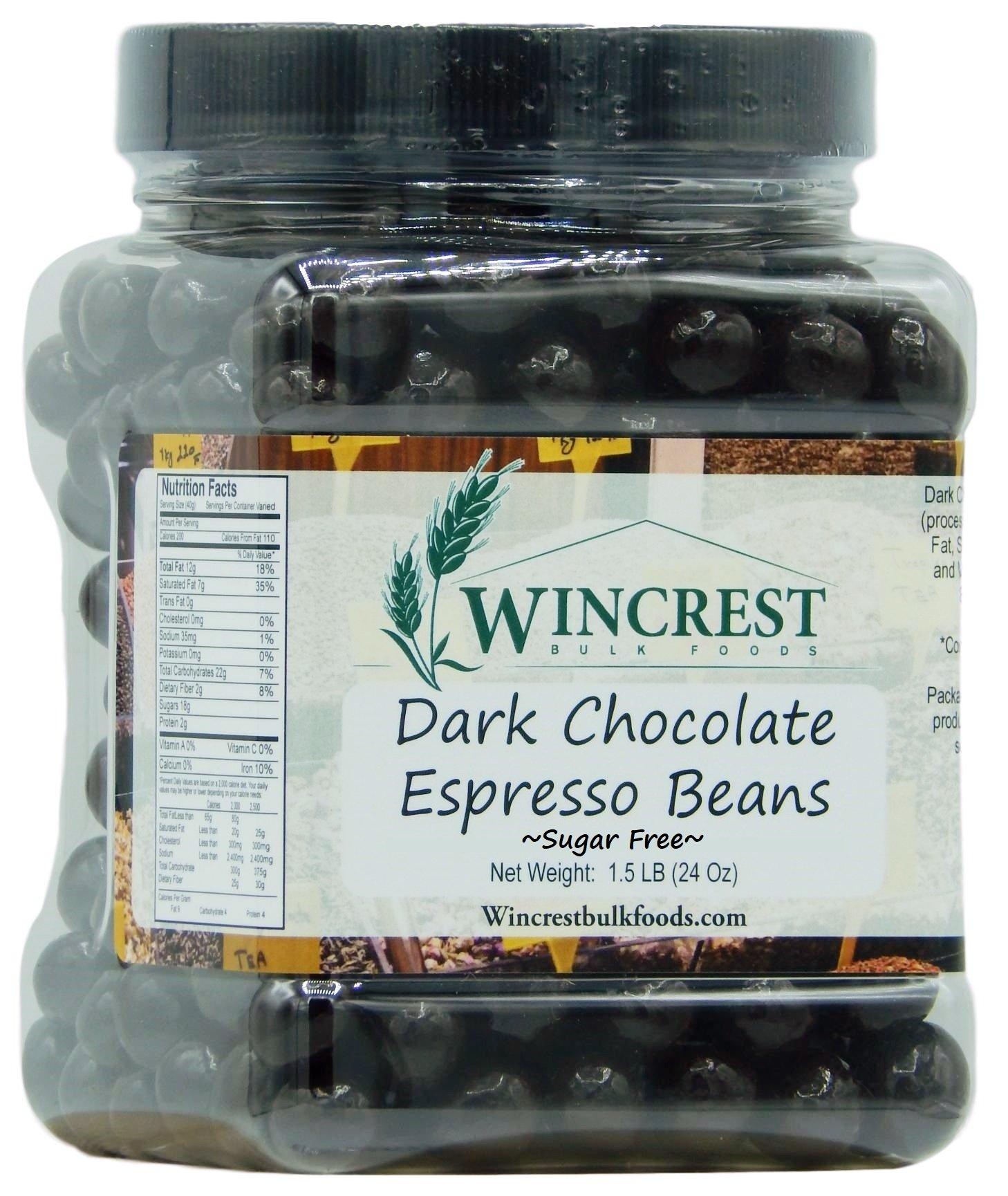 Chocolate Espresso Beans - 1.5 Lb Tub (Sugar Free Dark Chocolate) by WinCrest Bulk Foods