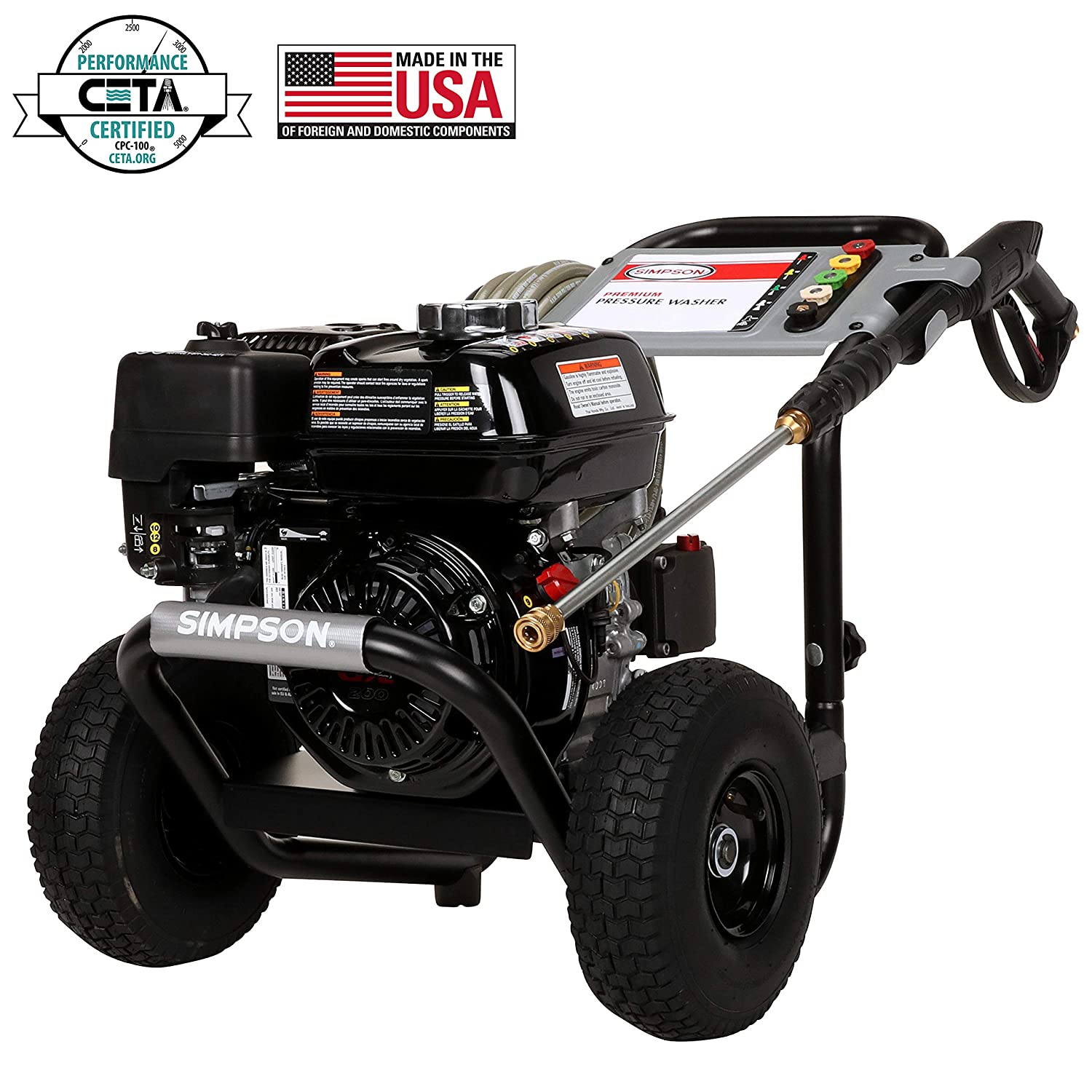 SIMPSON Cleaning PS3228 PowerShot Gas Pressure Washer Powered by Honda GX200, 3300 PSI at 2.5 GPM, Black