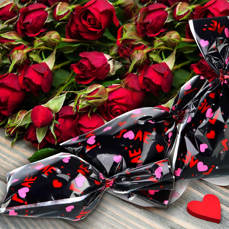 100 Pezzi Sacchetti di San Valentino Cellophane per Caramelle Sacchetti Regalo di San Valentino a Cuore Sacchetti di Regalo xon Cravatte a Spirale per Forniture di Feste di San Valentino