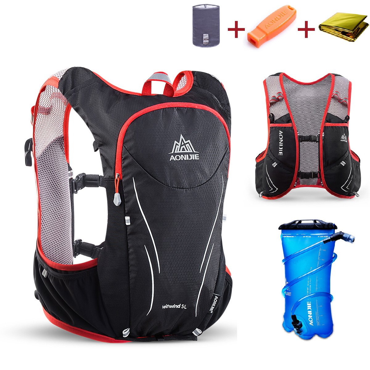 TRIWONDER Hydration Pack Backpack 5L Lightweight Deluxe Marathoner Running Race Hydration Vest (Black & Red - with 2L TPU Water Bladder, M/L - 34.6-39.4in)