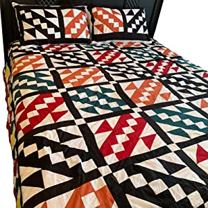 Traditional Cotton Authentic Patchwork Quilt Throw | Home Chic Multicolor Decorative Throw for Bed Couch Sofa (Double Bed, Design 1)