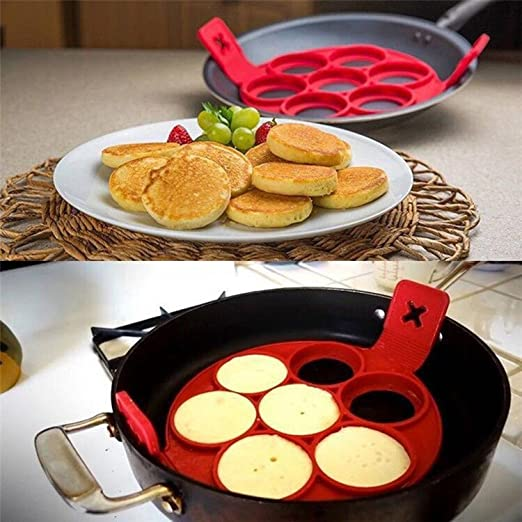 Flip Cooker Pancakes Silicone Mold Non Stick Pancake Maker 7 Cavity Reusable Egg Mold Ring Pancake Maker for Kitchen Pastry Tool