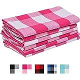 Cloth napkin - Pink napkins - Cotton napkins - Cotton Pink and White Kitchen napkins - Kitchen Napkin Cotton - Set of 6 (18 x 18, Pink and White)