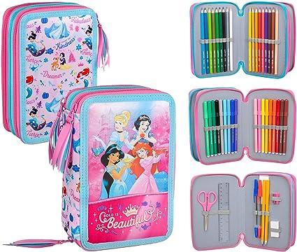 Princesas Disney - Estuche triple relleno, 44 accesorios escolares, 20 centímetros: Amazon.es: Oficina y papelería