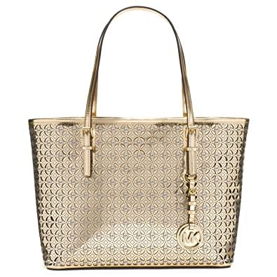 ab10ac468886 Amazon.com: Michael Kors Womens Flower Perforated Small Travel Tote Gold  Handbag: Shoes