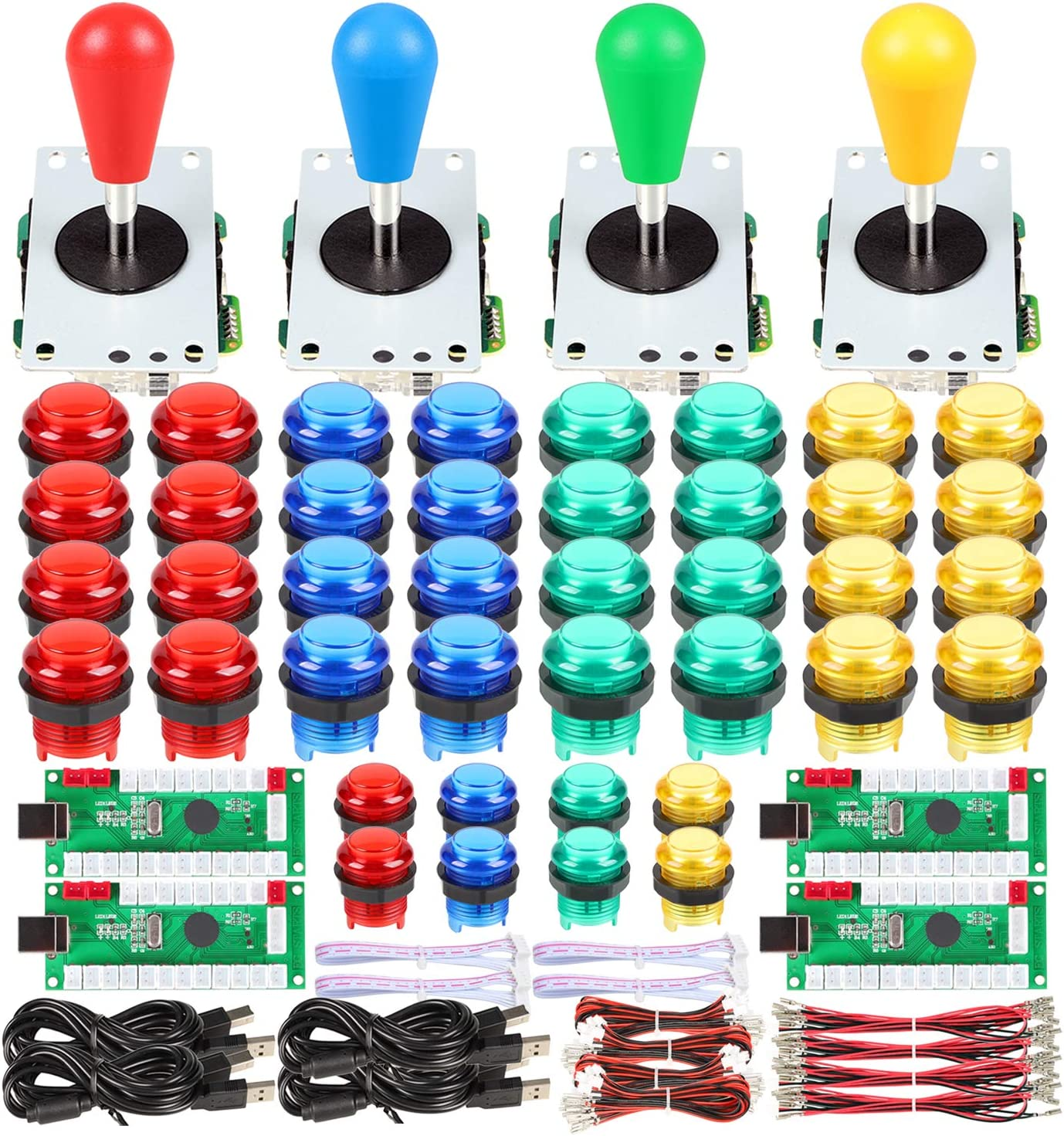 Fosiya 4 Player LED Arcade Kit Ellipse Oval Style Joystick USB Encoder to PC Games DIY Controllers Bat Joystick 4 Colors LED Arcade Buttons for All Windows PC MAME Raspberry Pi