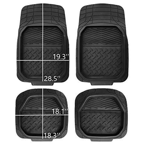 Floor Mats For Car >> Amazon Com Pic Auto Heavy Duty Rubber Deep Tray Floor Mats 100