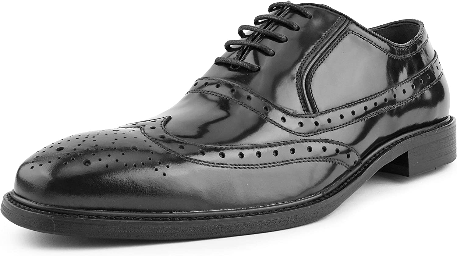 Classic Lace-Up Oxford Style Asher Green Mens Genuine Box Calf Leather Wingtip Dress Shoe