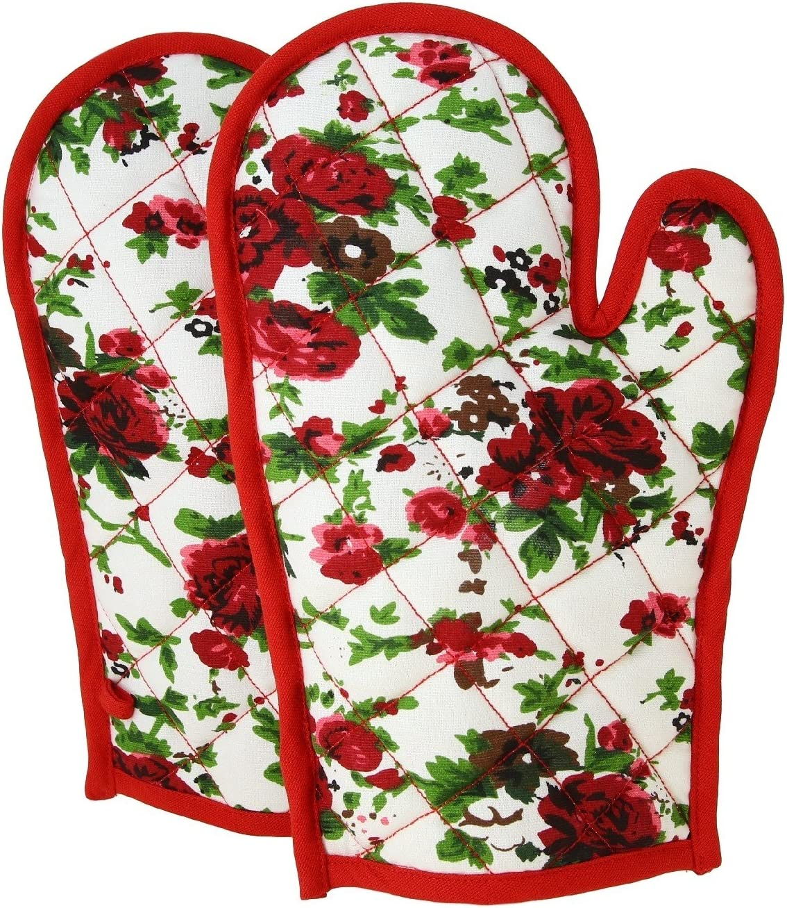 ShalinIndia Cotton Oven Mitts and Pot Holders OG02-6904 Red Quilted Cotton Oven Gloves 8 x 12 Inch Cooking Gloves for Women