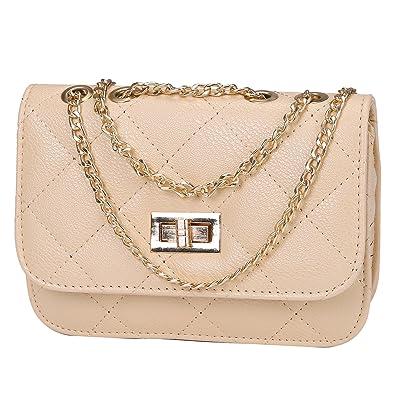 HDE Women s Small Crossbody Handbag Purse Bag with Chain Shoulder Strap ( Beige)  Amazon.in  Shoes   Handbags a086190f55e06