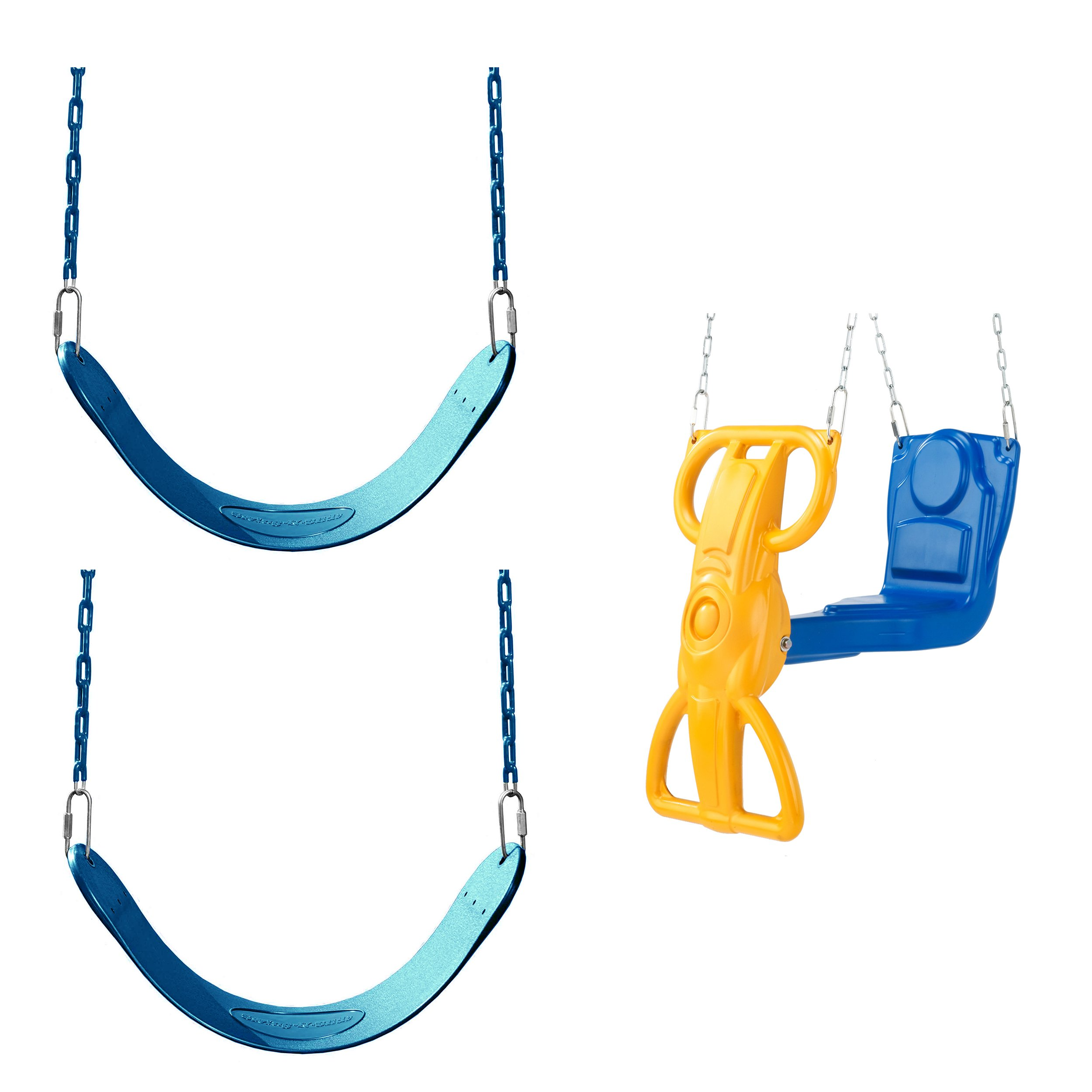 Blue Swing Seat and Glider Bundle - Includes 2 Blue Belted Swing Seats and a Blue and Wind Rider Glider Swing for Swing Sets, Play Sets, etc.