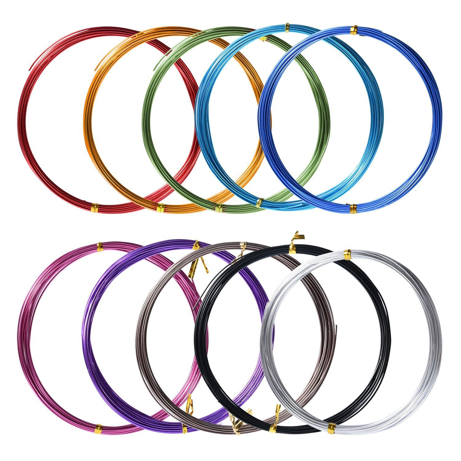 10 Rolls Assorted Colors Aluminium Craft Wire for DIY Craft, 1 mm in Diameter, 5 Meters Long Satinior
