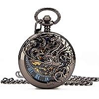Retro Mens Black Gragon Half Double Hunter Skeleton Mechanical Blue Roman Numerals Pocket Watch with Chain Box