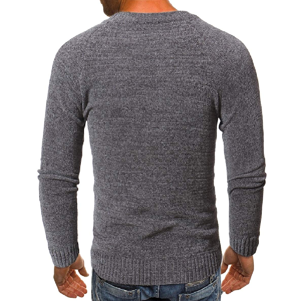 Winwinus Mens Relaxed-Fit Knitted Pullover Round Collar Long-Sleeve Spell Color Sweaters