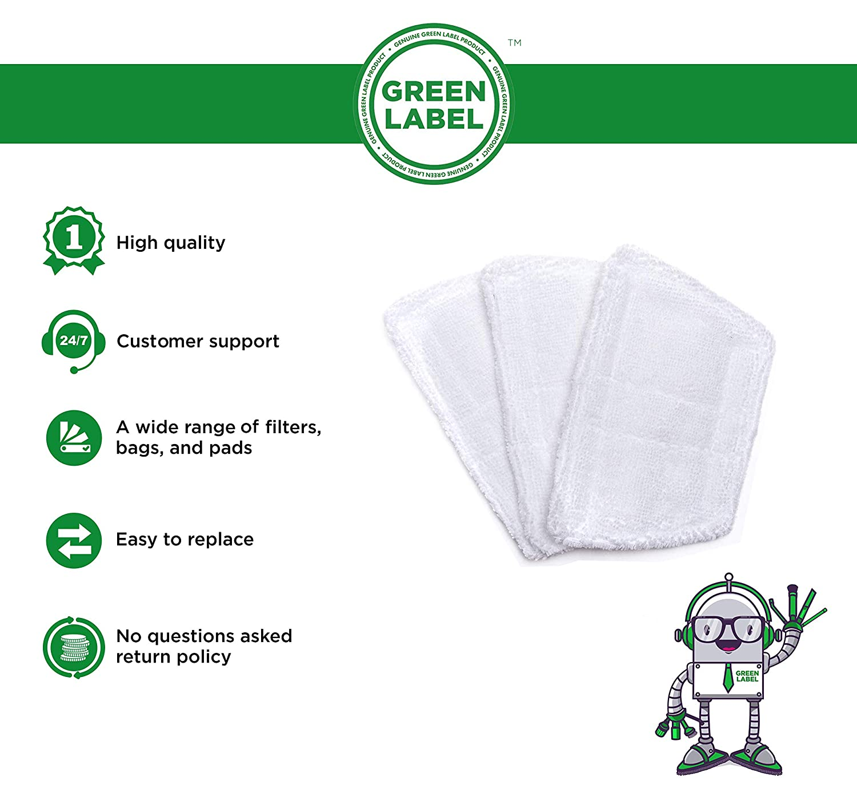 Reemplaza a 35850 Green Label Kit de 3 Mini Almohadillas para el Limpiador a Vapor Port/átil Morphy Richards 70495 720020 720021 720027 PARA EL ADJUNTO DE LA VENTANA