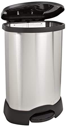 Rubbermaid Commercial Step On Container, Oval, Stainless Steel, 30 Gallons,  Black