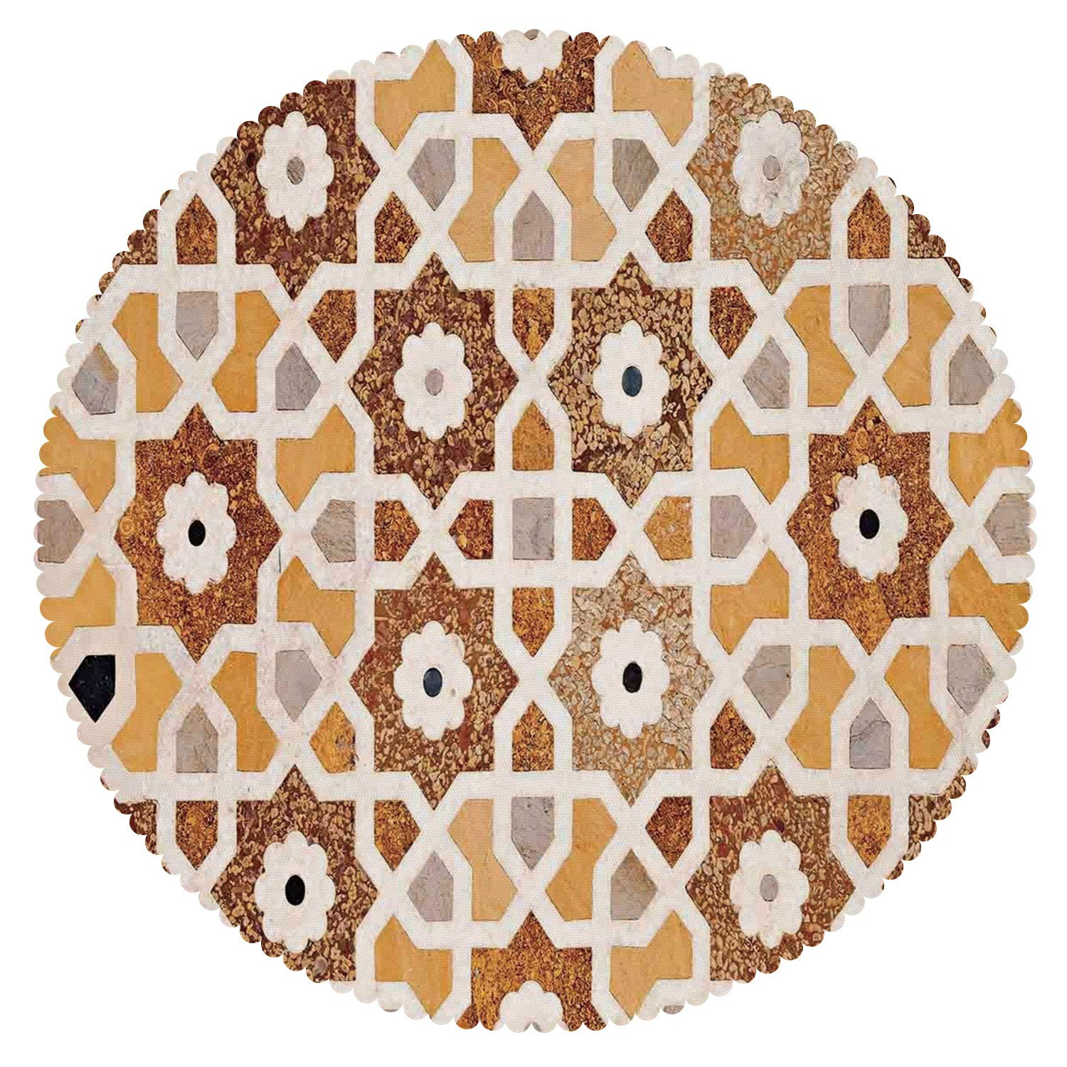 iPrint Cool Round Tablecloth [ Antique,Detail of Inlay and Geometric Carvings Asian Taj Mahal Tomb Architecture Decorative,Cream Orange Brown ] Fabric Home Set
