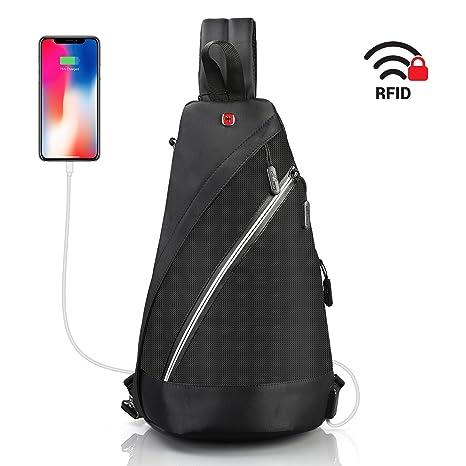 7dff878b3f15 Sling Bag for iPad 10.2 quot  - Crossbody Backpack Anti Theft Black - Swiss  Design RFID