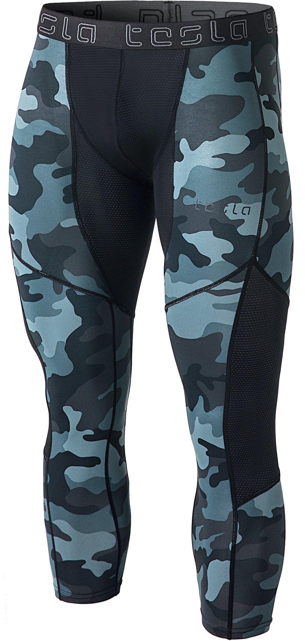 TSLA Men's Mesh-Panel Compression 3/4 Capri Pants
