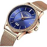 CIVO Relojes para Mujer Pulsera de Malla a Prueba de Agua Fecha Calendario Reloj de Lujo para Mujer de Negocios Mujer Relojes de Pulsera con Correa de Reloj de Malla de Acero Inoxidable
