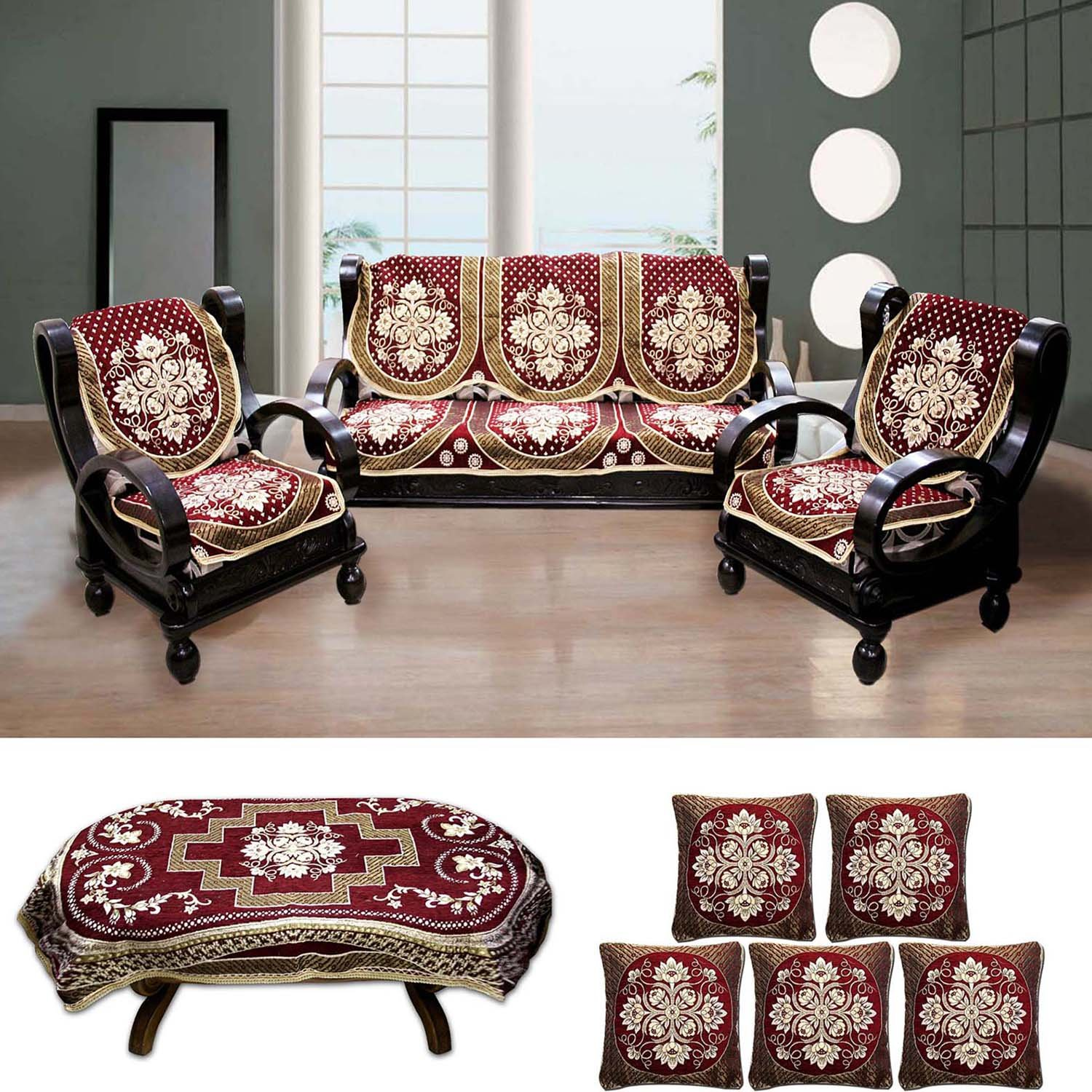Buy FURNISHING KINGDOM Floral Velvet Sofa Cover Table Cover and
