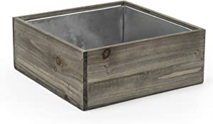 "CYS EXCEL Planter Box, Wood Planter, Wood Rectangle Window Box, Wood Planters with Removable Zinc Liner, Succulent Planter - 8 (1, H-4"" Open:12x12)"